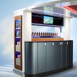 A vertically sliding video screen secures bar items for take-off and landing
